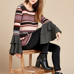 Stripped waffle sweater with bell sleeves