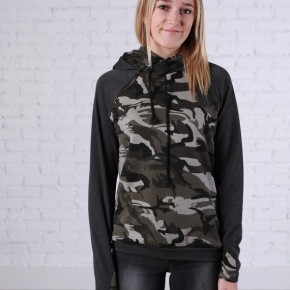 Double Hooded Camo and Charcoal Sweatshirt