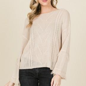 Fringe Sleeve Cozy Snug Sweater