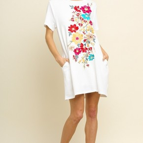 Off White Floral Embroidered Dress with Pockets