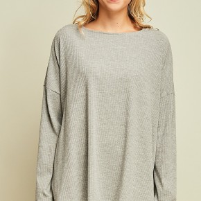 Grey draped twisted back top