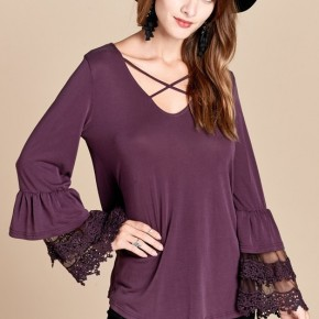 Plum Ruffle Trim Long Sleeve Top with Criss-Cross Front
