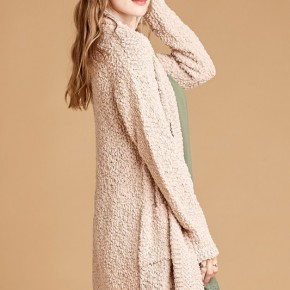 Popcorn Taupe Sweater with Fold-Over Collar and Pockets