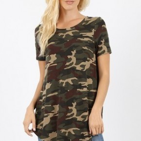 Camouflage Print Short Sleeve Top