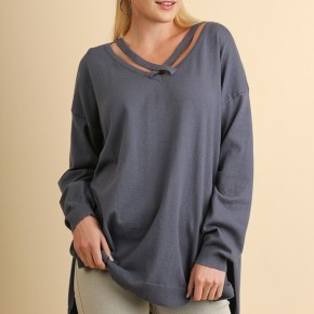 """Cool Grey "" High Low Crossed Scoop Neck Pullover Sweater"