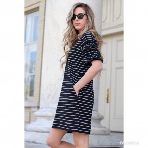 Black & White Stripe Dress with Short Ruffled Sleeves