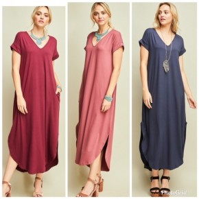 V-neck Maxi with side pockets and high-low hem.
