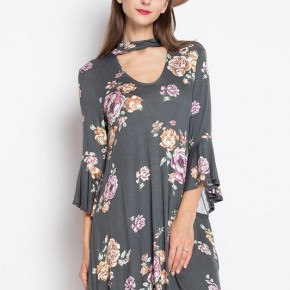 Floral Halter Neck Swing Dress