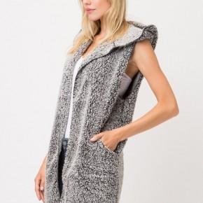 Faux Fur Sleeveless Soft Hoodie Vest