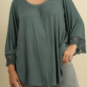 Garment Dyed Top with Lace Trimmed Angel Sleeves