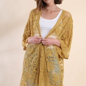Golden Kiwi Floral Lace Kimono with Waist Tie