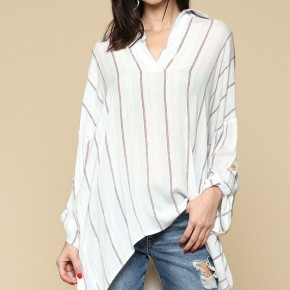 Oversize Stripe Collar Tunic Top