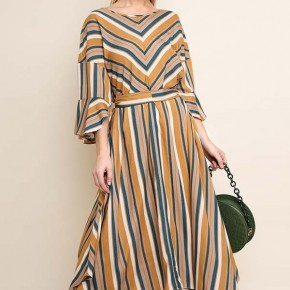 Mustard and Teal Striped Bell Sleeve Maxi with Handkerchief Hem
