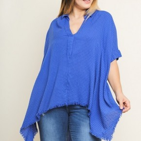 Royal Blue Checkered V-Neck Collared Top with Frayed Shark-bite Hem