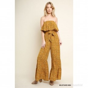 Mustard Mix Floral Print Ruffled Wide Leg Jumpsuit