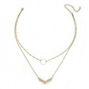 Gold Two Layer Circle and Two Tone Arrow Necklace.