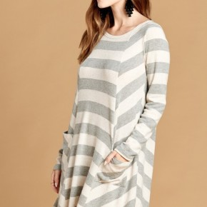 Grey Striped Knit Dress with Pockets