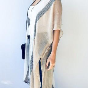 Taupe Multicolor Striped Kimono