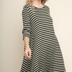 Olive/Ivory Striped Pocket Tee Dress