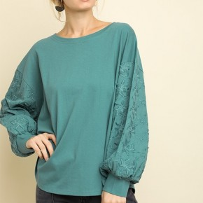 Teal Floral Embroidered Puff Sleeve Top
