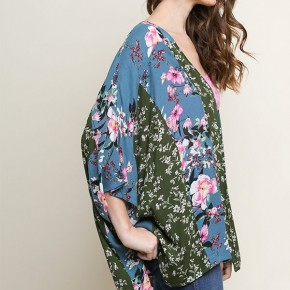 Multi-Floral Print Bell Sleeve Kimono