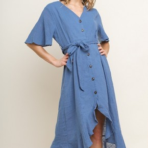 Button Up V-neck Midi Dress with Ruffle Hem