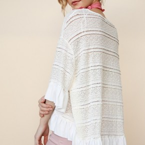 Crochet Bell Sleeve Top with Ruffle High Low Hem
