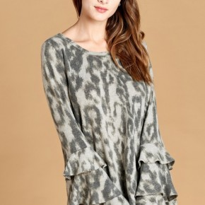 Grey Tiered Ruffle Sleeve Animal Print Top