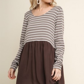 Striped Long Sleeve Top with a Solid Scalloped High Low Hem