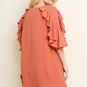 Clay Ruffled Bell Sleeve Scoop Hem Dress