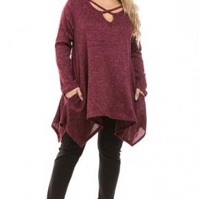 Plus Size Soft Burgundy Sweater Tunic