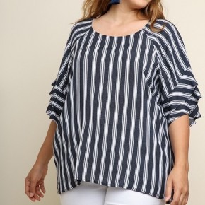 Striped Navy Layered Ruffle Sleeve Top
