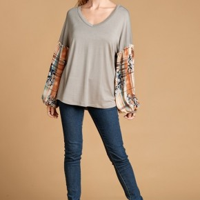 Sage Top with Plaid Bishop Sleeves
