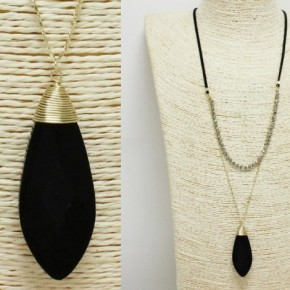 Long double chain stone necklace
