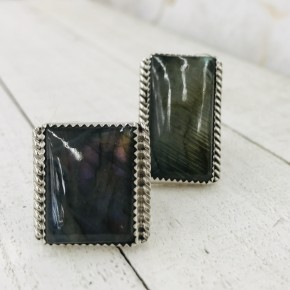 SQUARE LABRADORITE RINGS WITH BRAIDED EDGE