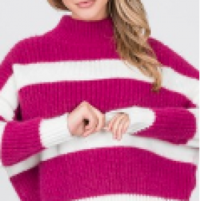 Fuschia striped color block furry knit sweater