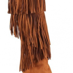 Brown layered fringe cone heel boots