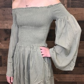 Olive off the shoulder elastic top with long sleeve romper
