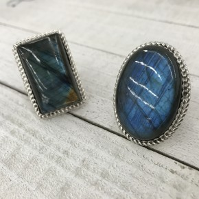 LARGE LABRADORITE  RING WITH SCALLOP EDGE WITH BRAID