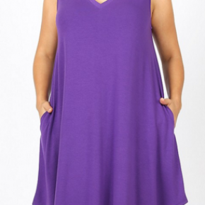 Plus size pocket sleeveless A line dress