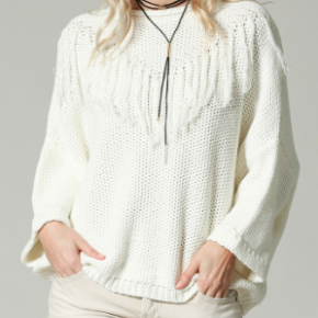 Off white oversized round neck pullover sweater