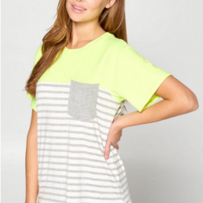 Neon yellow  color block with stripes and gray pocket