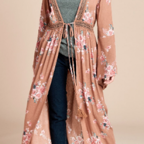 Taupe Lace Edge Floral Open-Front Kimono Cardigan