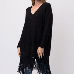 Black cozy sweater with distressed hem at the bottom
