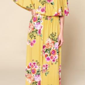 Mustard floral off shoulder jersey knit maxi dress