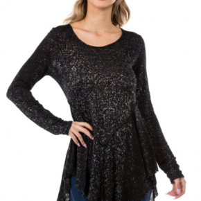 Black bleach splattered tunic top with long sleeves and unhemmed bottom