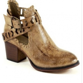 Taupe strap heel bootie