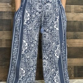 Plus dusty blue and white boho flowy pants