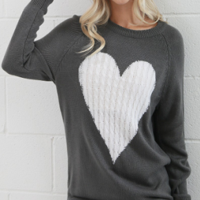Grey long sleeve knit sweater with ivory heart