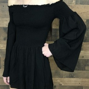 Black off the shoulder elastic top with long sleeve romper